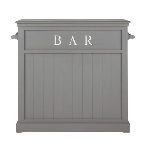 meuble de bar en bois gris l 120 cm newport maisons du monde. Black Bedroom Furniture Sets. Home Design Ideas