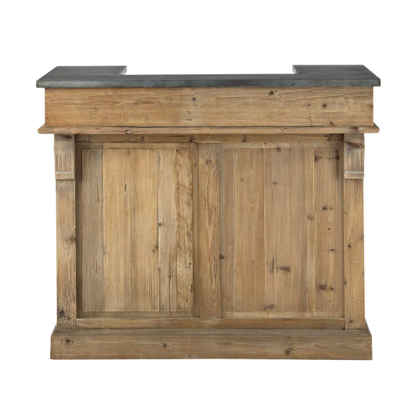 Meuble de bar en bois recyclé L 120 cm Pagnol (photo)