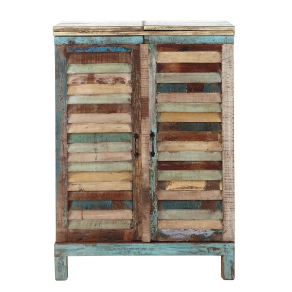 Meuble de bar en bois recyclé multicolore L 75 cm Calanque (photo)