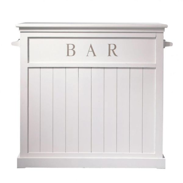 Meuble de bar en pin blanc L 120 cm Newport (photo)
