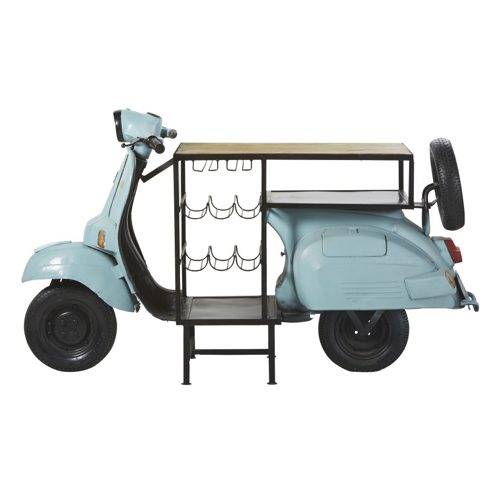 Meuble de bar scooter bleu en métal et manguier Scooter (photo)