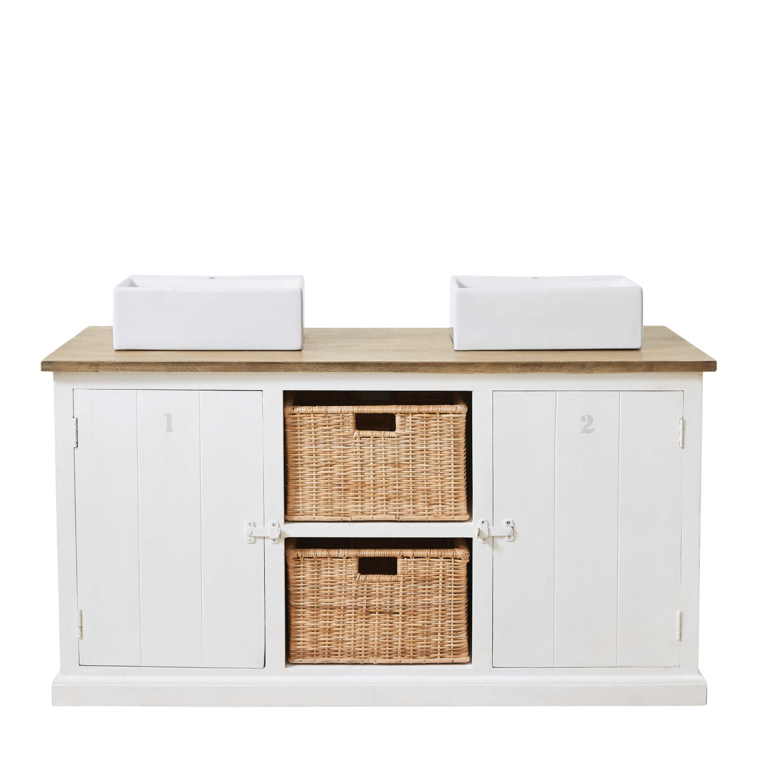 meuble double vasque en manguier massif blanc maisons du monde. Black Bedroom Furniture Sets. Home Design Ideas