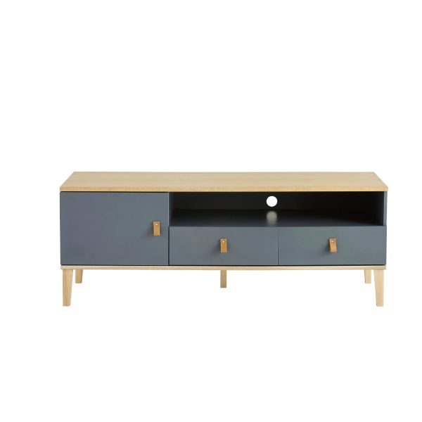 Meuble tv 1 porte 2 tiroirs gris cl o cestpasleperou for Meuble 1 porte
