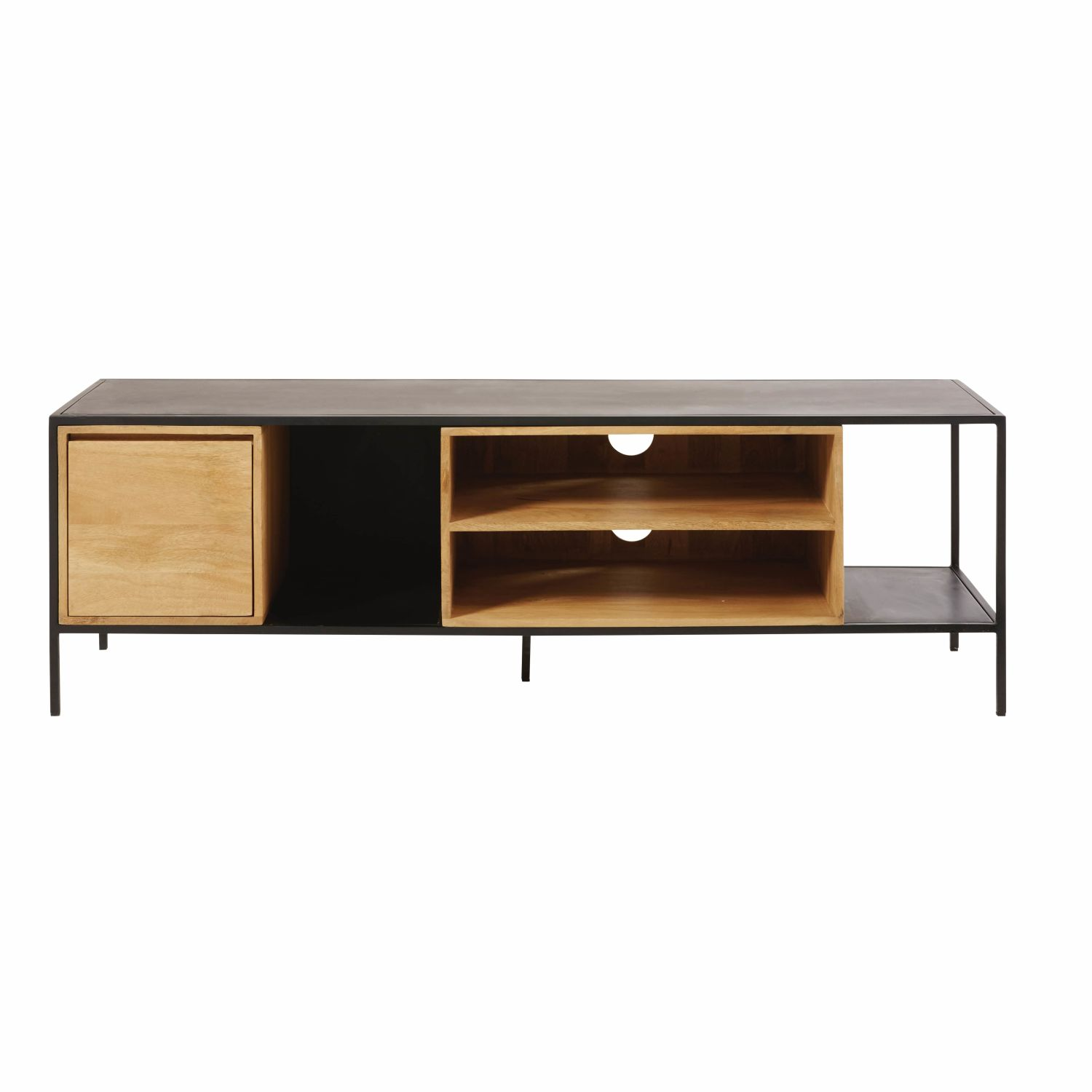 meuble tv 1 porte en m tal noir et manguier massif maisons du monde. Black Bedroom Furniture Sets. Home Design Ideas