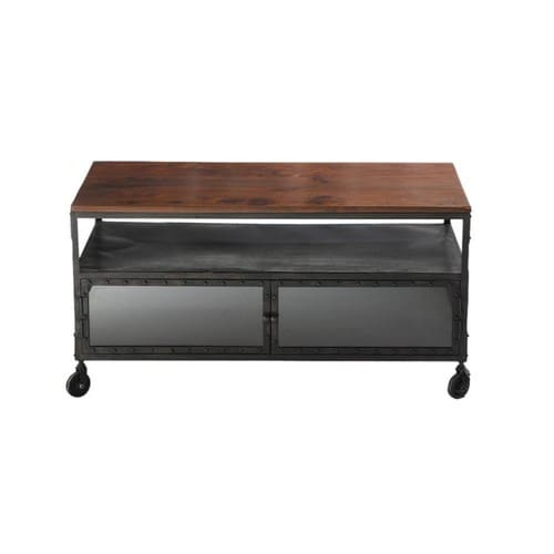meuble tv roulettes en m tal et bois de sheesham massif noir l 110 cm industry maisons du monde. Black Bedroom Furniture Sets. Home Design Ideas