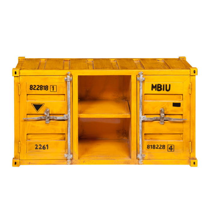 Meuble Tv Container En Metal Jaune L 129 Cm Carlingue Maisons Du Monde
