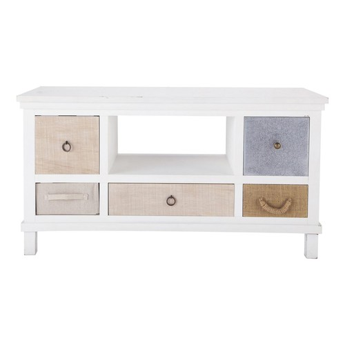 meuble tv en bois blanc l 110 cm ouessant maisons du monde. Black Bedroom Furniture Sets. Home Design Ideas