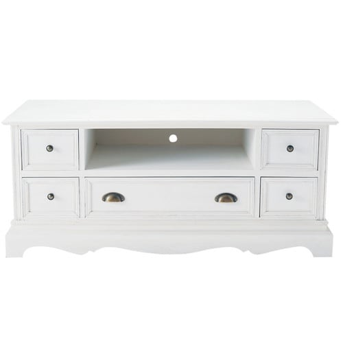 meuble tv en bois de paulownia blanc l 117 cm jos phine maisons du monde. Black Bedroom Furniture Sets. Home Design Ideas