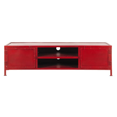 meuble tv indus en m tal rouge l 150 cm edison maisons. Black Bedroom Furniture Sets. Home Design Ideas