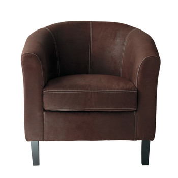 page 1 microfibre armchair in brown baltimore