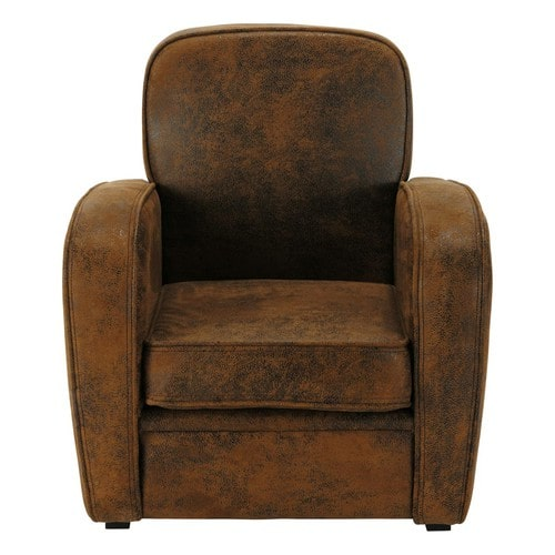 Microsuede Child's Armchair in Brown