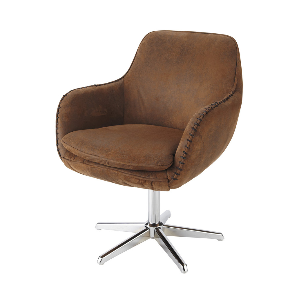 microsuede office chair in brown maisons du monde
