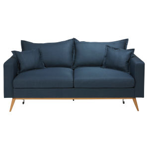 Midnight Blue 3-Seater Fabric Sofa Bed