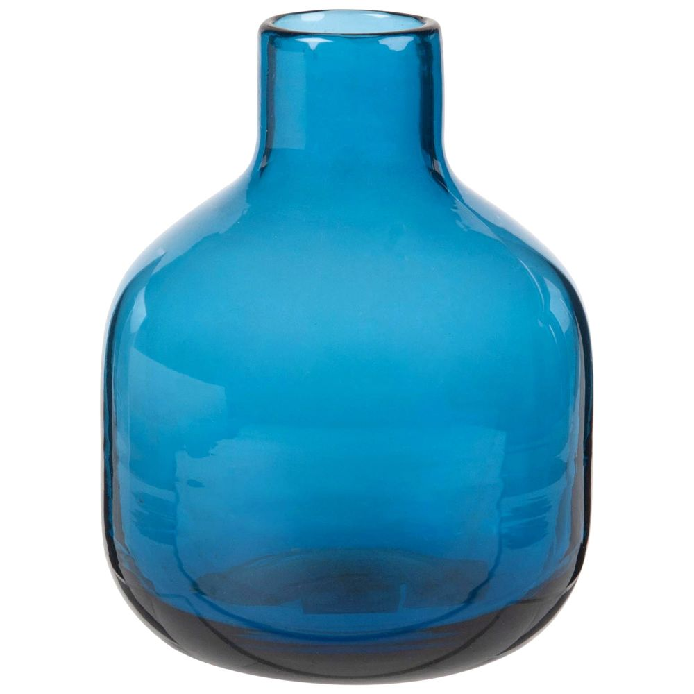 Mini vase en verre teinté bleu H14 (photo)