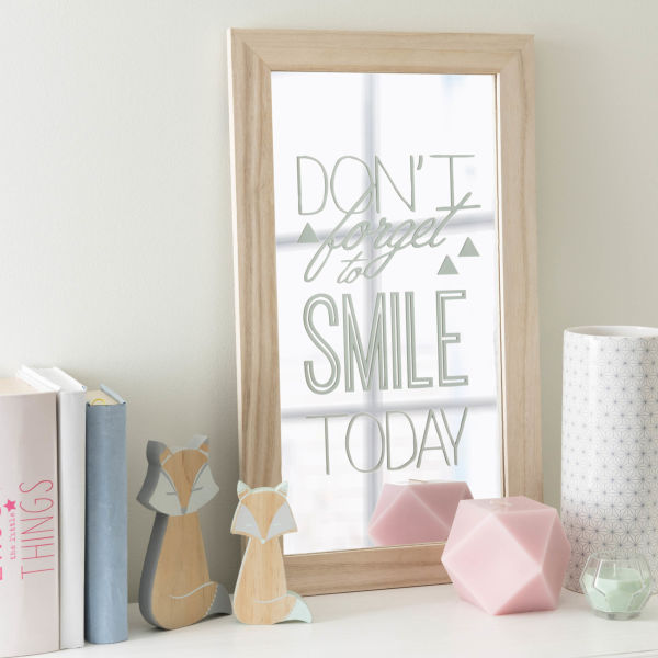 Miroir en bois 31 x 53 cm DON'T FORGET TO SMILE