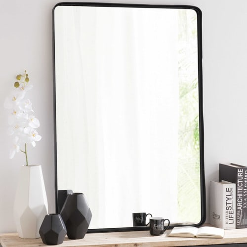 Miroir en m tal noir h 110 cm weston maisons du monde for Grand miroir metal