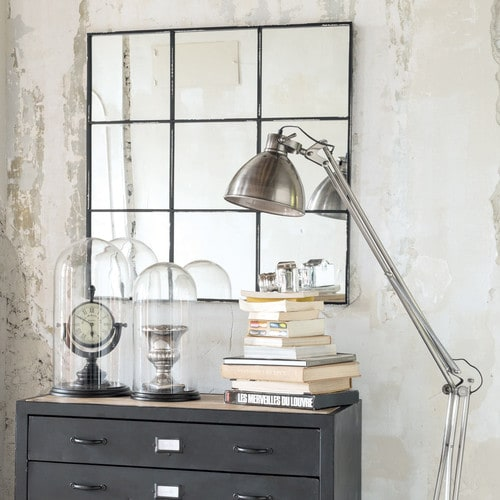 miroir en m tal noir h 90 cm tobias maisons du monde. Black Bedroom Furniture Sets. Home Design Ideas