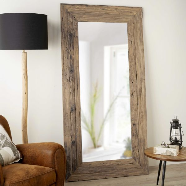miroir en teck recycl 100x200cm woody le fait main. Black Bedroom Furniture Sets. Home Design Ideas