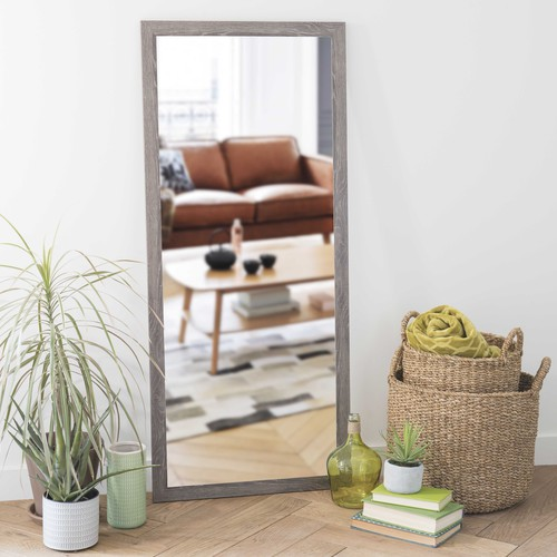 Miroir gris h 130 cm trendy maisons du monde for Grand miroir gris