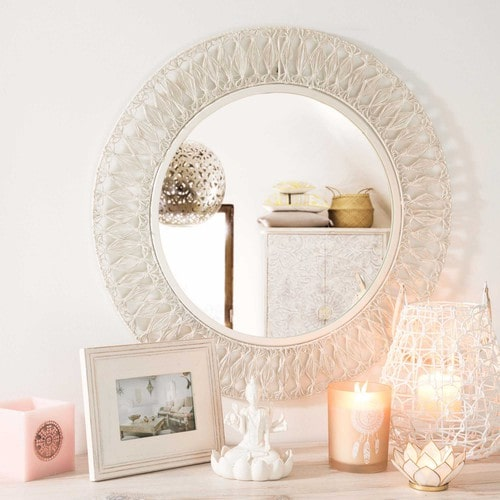 miroir rond en m tal blanc joshua maisons du monde. Black Bedroom Furniture Sets. Home Design Ideas