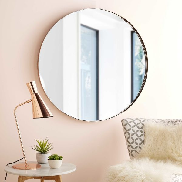 Miroir rond m tal for Grand miroir leroy merlin