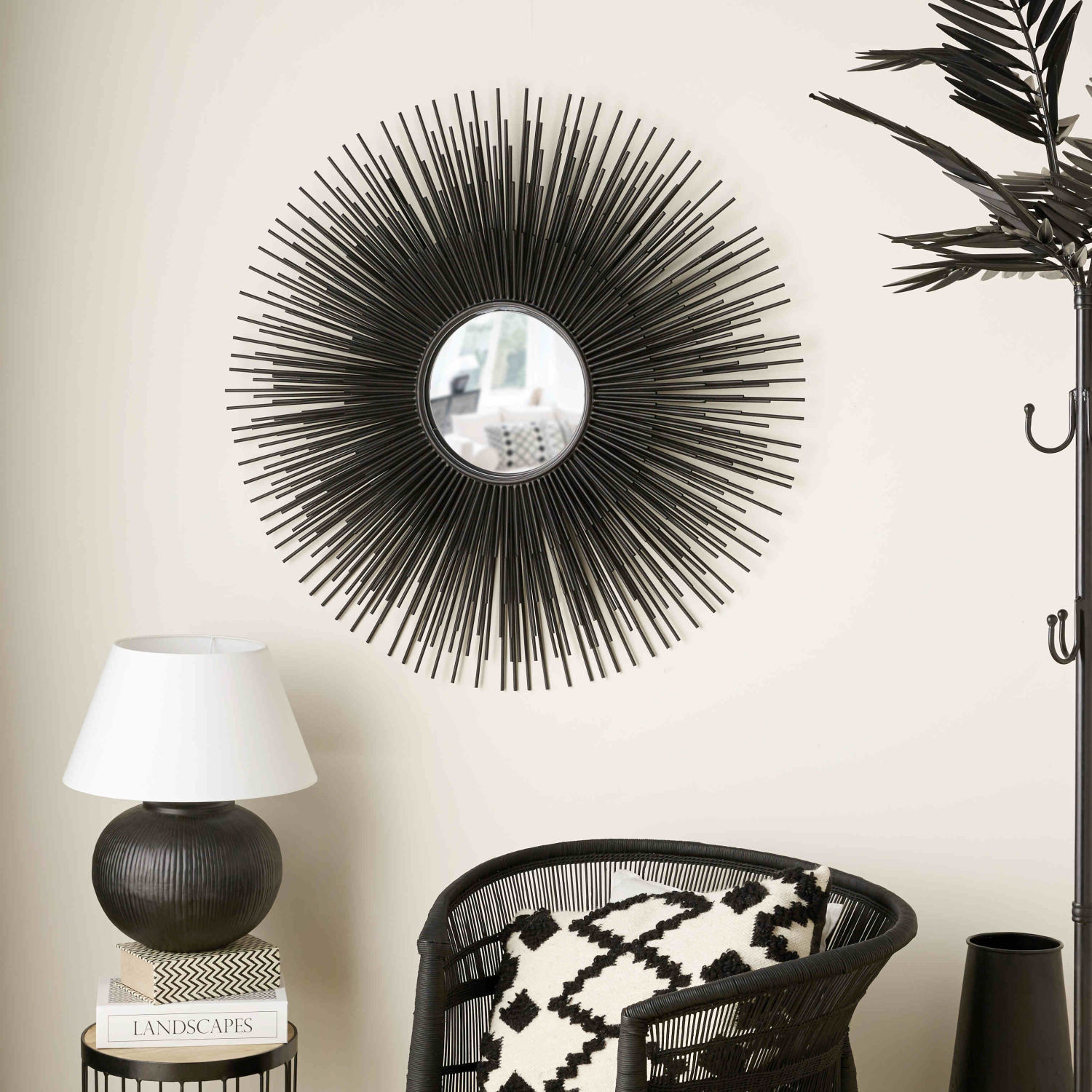 miroir rond en m tal noir maisons du monde. Black Bedroom Furniture Sets. Home Design Ideas