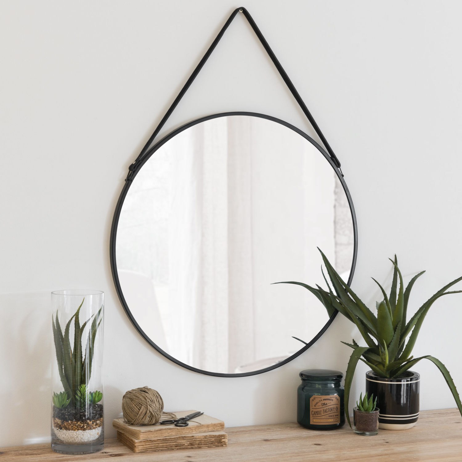 miroir rond en m tal noir d55 maisons du monde. Black Bedroom Furniture Sets. Home Design Ideas
