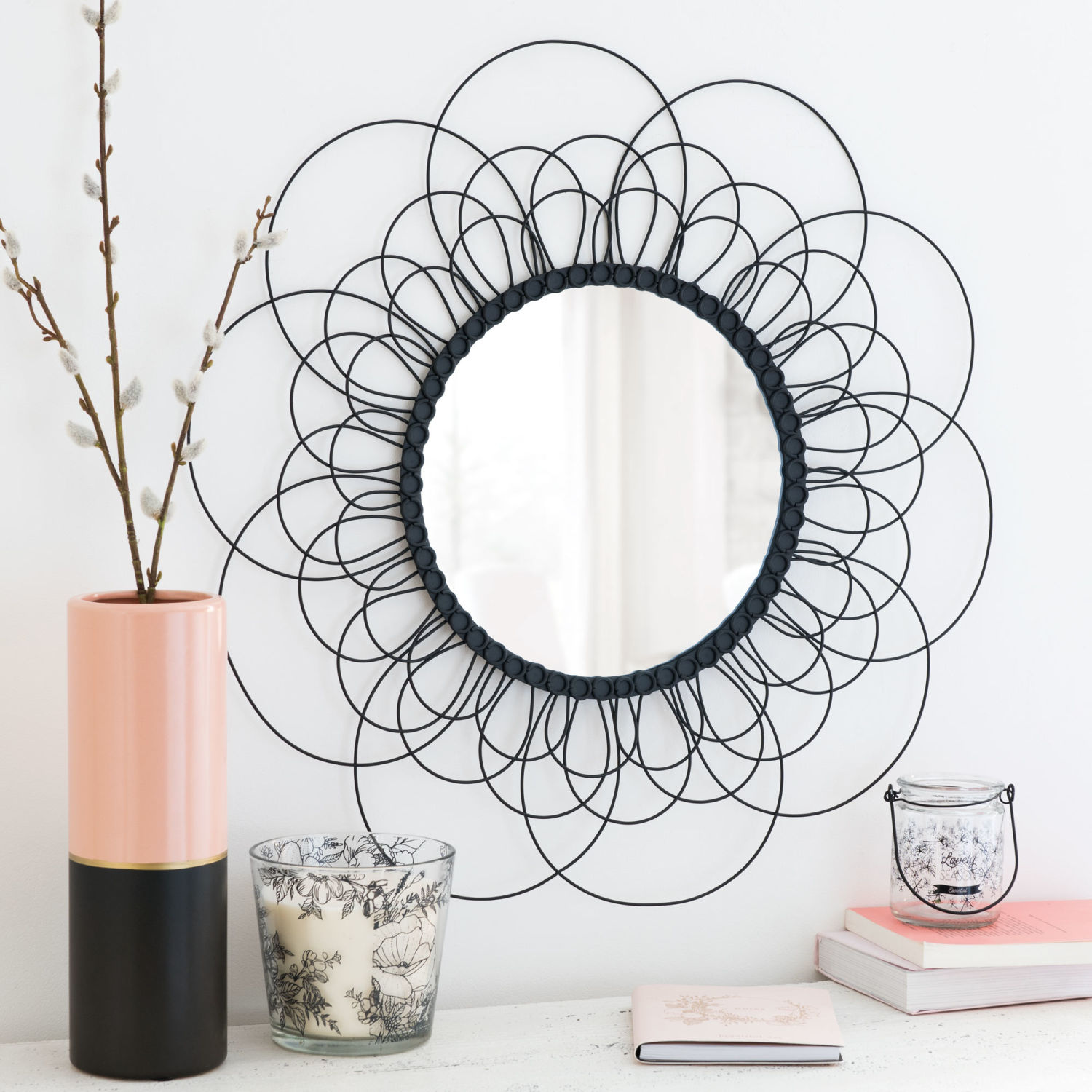 miroir rond en m tal noir d60 maisons du monde. Black Bedroom Furniture Sets. Home Design Ideas