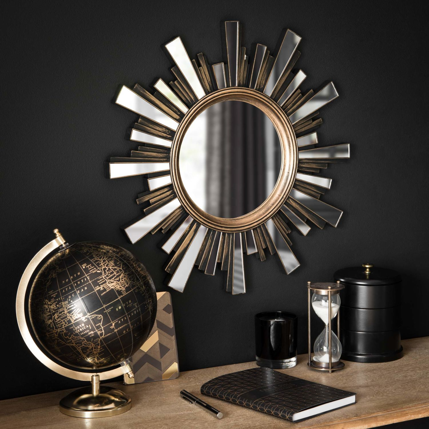 miroir soleil dor effet vieilli d48 maisons du monde. Black Bedroom Furniture Sets. Home Design Ideas