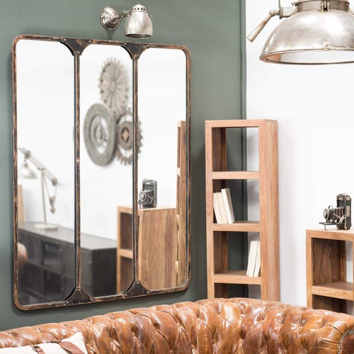 miroir triple en m tal noir h 159 cm titouan maisons du monde. Black Bedroom Furniture Sets. Home Design Ideas