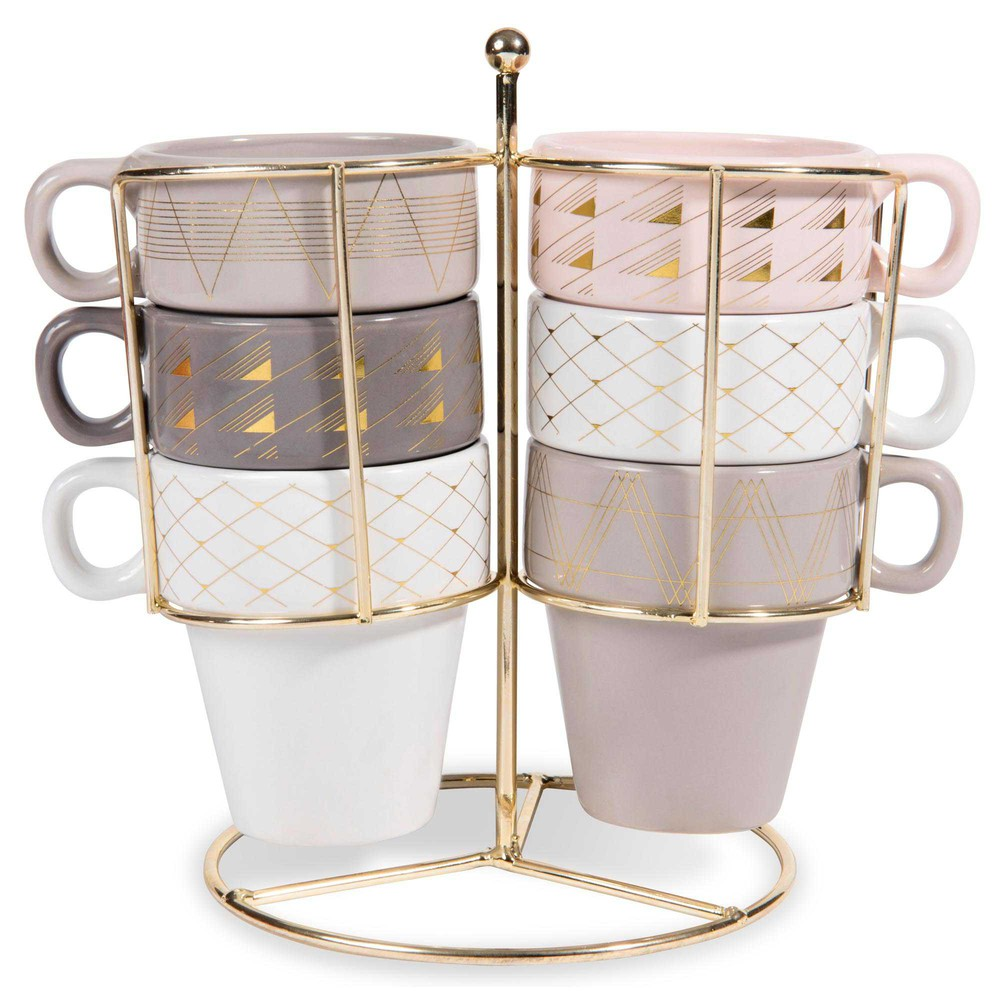 MODERN COPPER 6 faience cups + holder