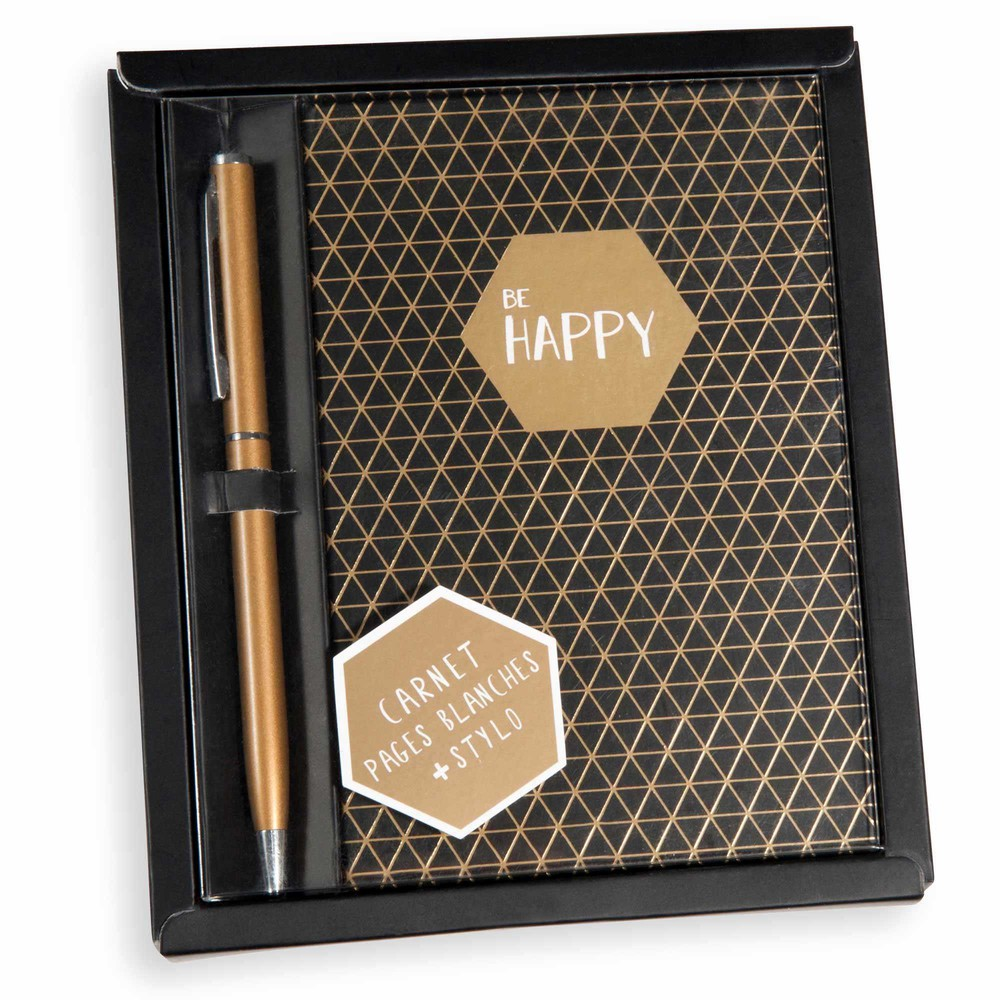 MODERN gold and black notebook and pen set