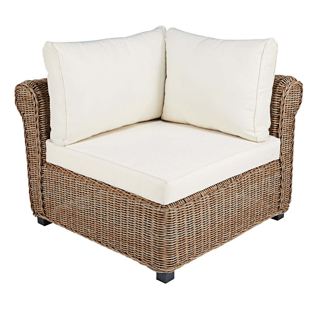 Modular corner unit of garden sofa in resin wicker with ecru cushions