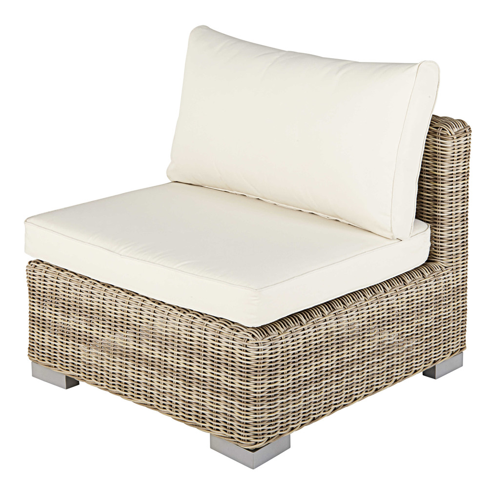 Modular garden armless single seat sofa in beige resin wicker with ecru cushions