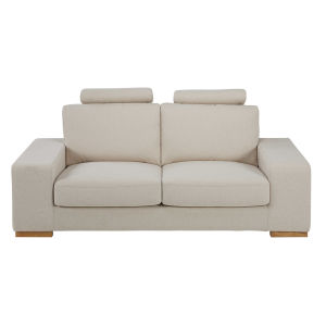 Mottled beige 2-seater fabric sofa with headrests