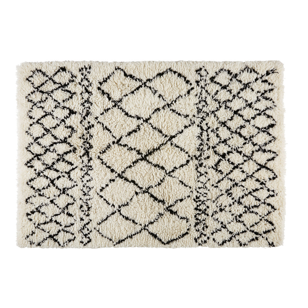 ecru/black cotton and wool berber rug 140 x 200 cm | maisons du monde Berber Rug
