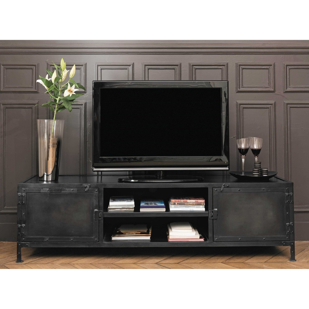 Mueble De Tv Industrial De Metal Negro Maisons Du Monde # Mueble Tv Industrial Negro