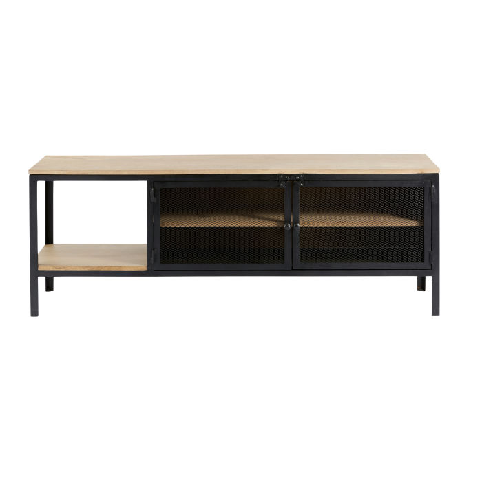 Mueble De Tv Industrial De Metal Negro Y Mango Macizo Maisons Du  # Mueble Tv Industrial Negro