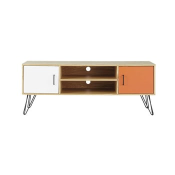 mueble de tv vintage blanco y naranja de madera an cm twist