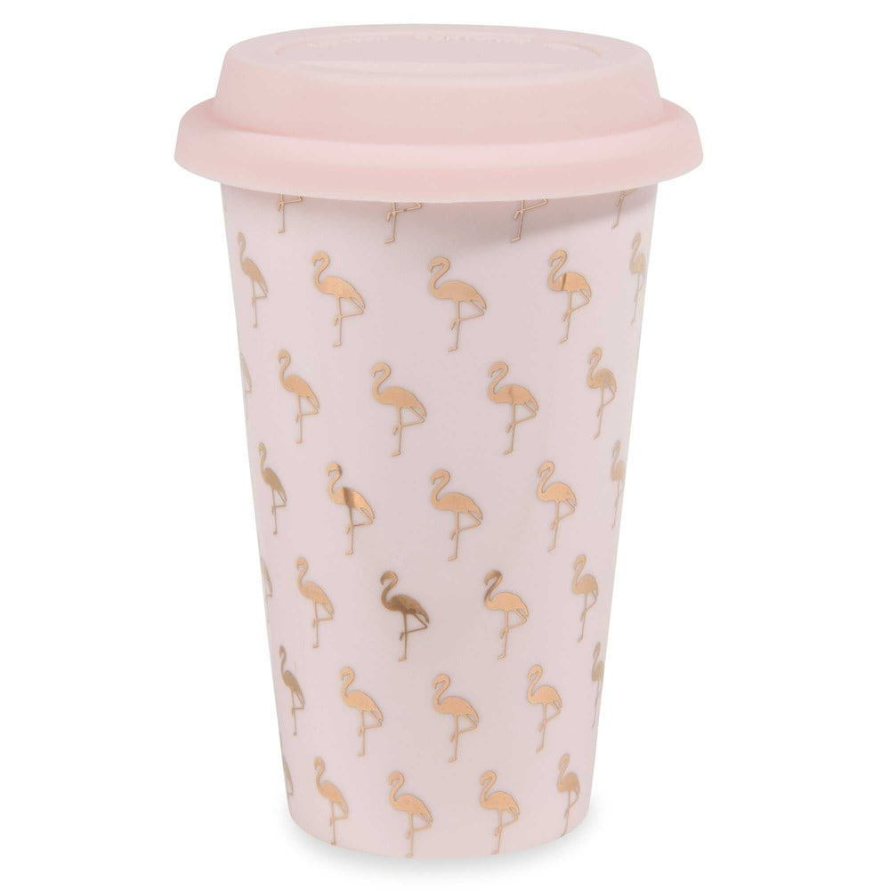 Mug de voyage en porcelaine motifs flamants roses FLAMINGO (photo)