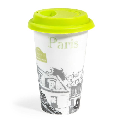 mug de voyage en porcelaine vert paris cities maisons du monde. Black Bedroom Furniture Sets. Home Design Ideas
