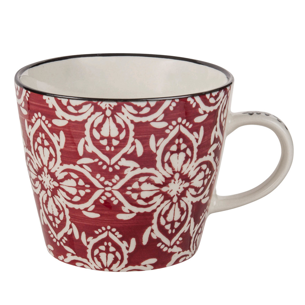Mug en faïence motif floral rouge (photo)