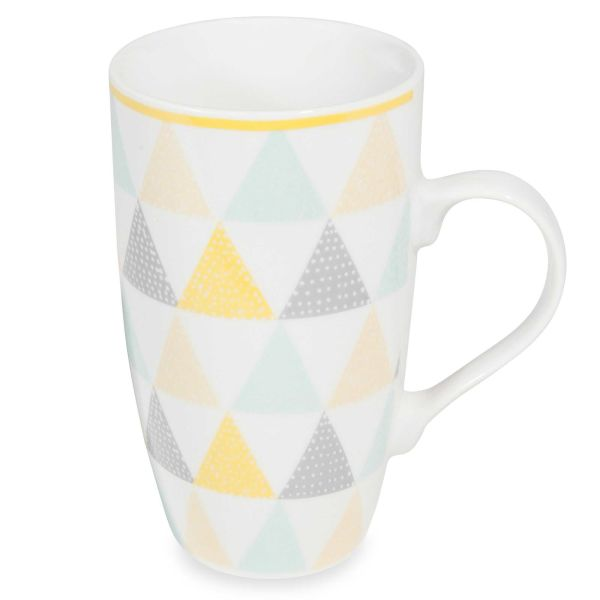 Mug en porcelaine blanche à triangles LEMON