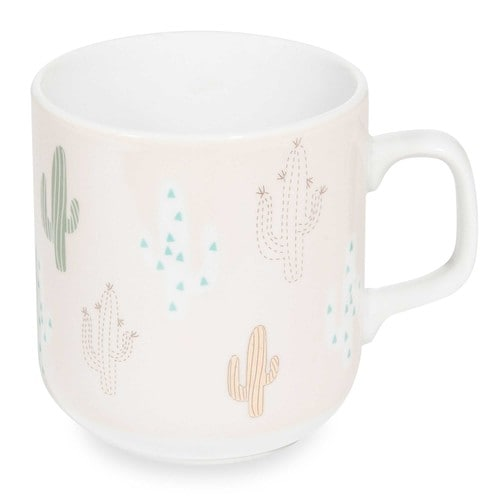 mug en porcelaine rose cactus maisons du monde. Black Bedroom Furniture Sets. Home Design Ideas