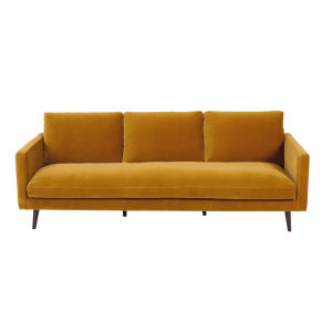 Mustard yellow 4-seater velvet sofa