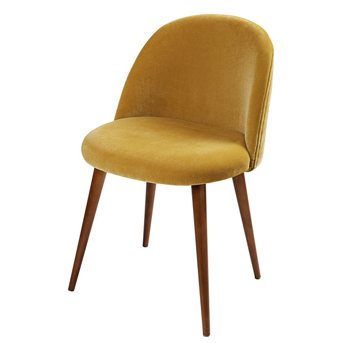 Mustard Yellow Velvet And Birch Vintage Chair Mauricette Maisons