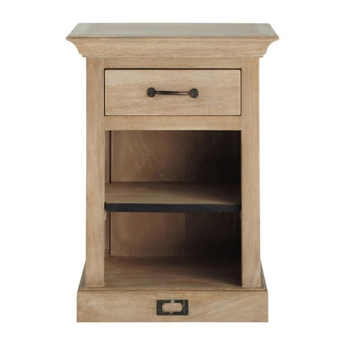 nachttisch aus mangoholz mit schublade b 45 cm naturaliste maisons du monde. Black Bedroom Furniture Sets. Home Design Ideas