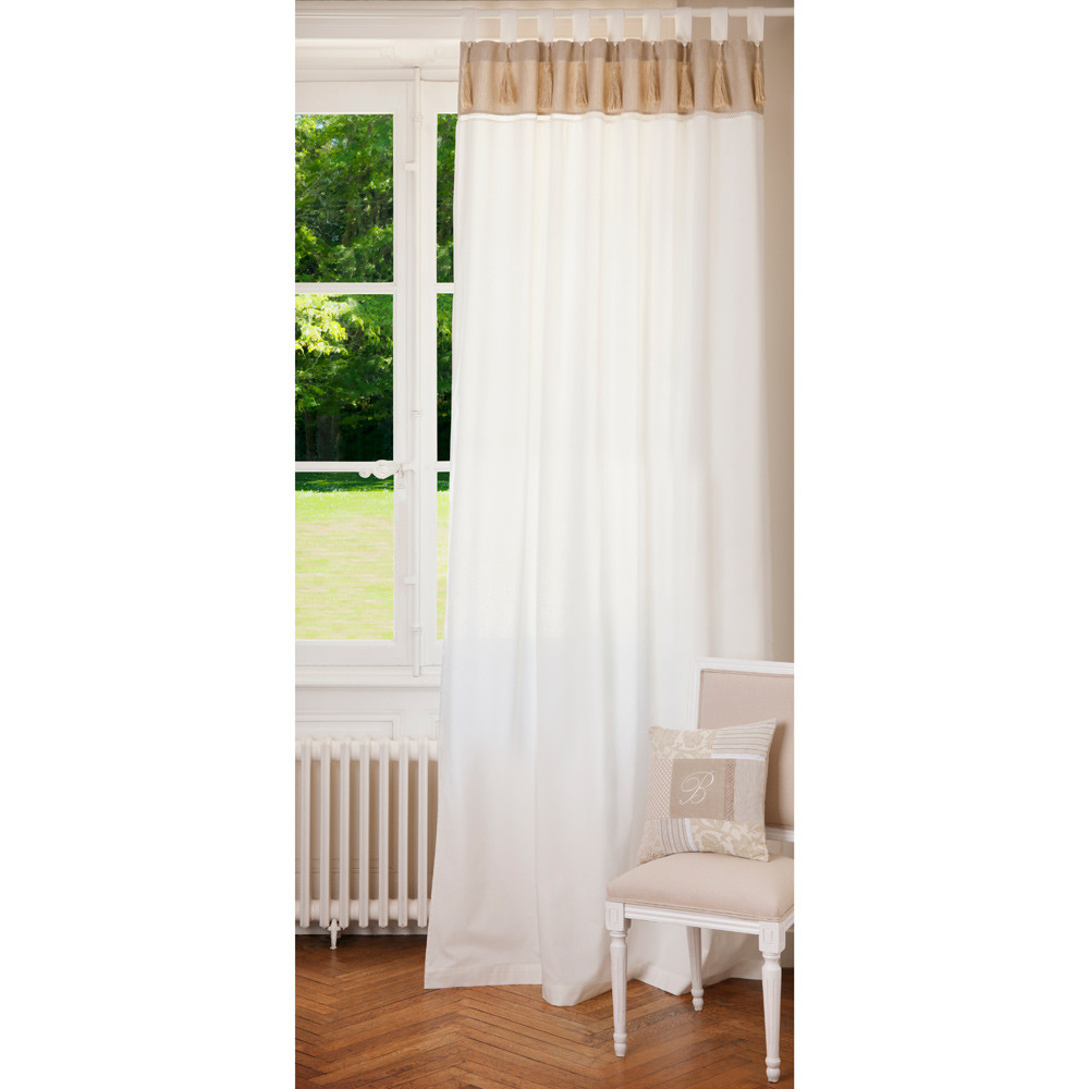 NAPOLI cotton tab top double curtain in white and beige 150 x 250cm