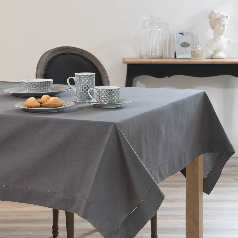 Nappe carrée unie en coton gris anthracite 170 x 170 cm (photo)