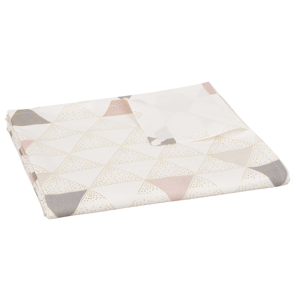 Nappe en coton gris motifs triangles 150x250 (photo)